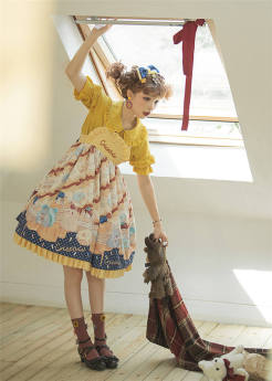 Cat Can -Little Hamster- Sweet High Waist Lolita JSK and Hairclip Set