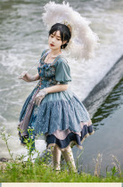 Withpuji -Letter and Poem- Classic Vintage Lolita OP Dress With Detachable Arm Sleeves
