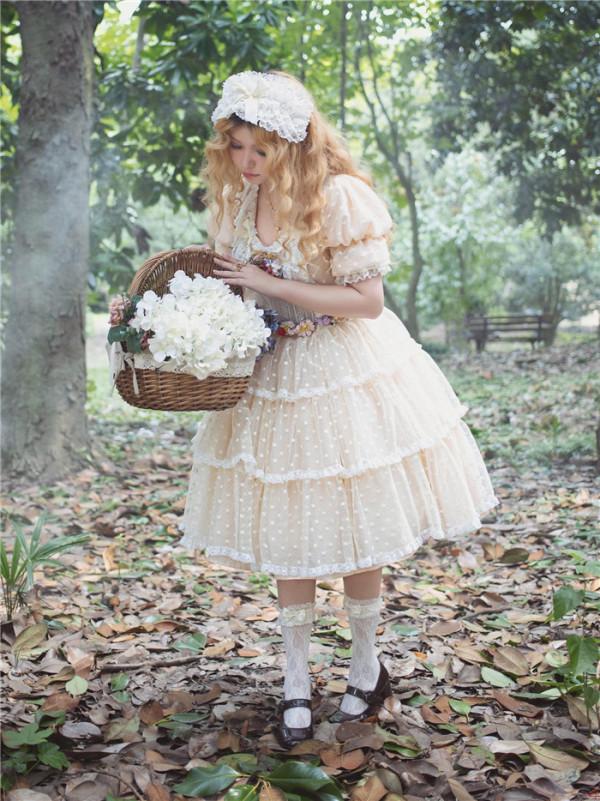 LeFlacon - Vintage Classic Doll Lolita OP Dress and Headband Set