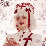 CatHighness - Scarlet Cross- Halloween Gothic Nurse Lolita Hat and Hairclips