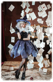 Night Witch and Pumpkin Witch Halloween Gothic Lolita JSK and Detachable Collar Set