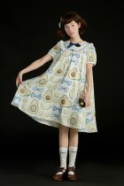 Summer Fairy -Avocado Hedgehog- Short Sleeve Hight Waist Casual Lolita OP One Piece Dress