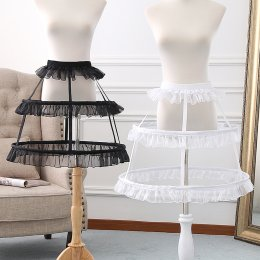 A-line Shaped Bell Shaped 50cm Long Adjustable Puffy Level Ruffled Birdcage Lolita Petticoat