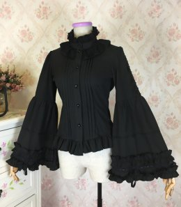ab6d8263fa2359 Chiffon Puffy/Flare Adjustable Long Sleeve Stand Collar Gothic Lolita Blouse
