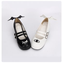 Angelic Imprint - Low Chunky Heel Round Toe Buckle Demon and Angel's Eye Classic Lolita Shoes with Wing Back