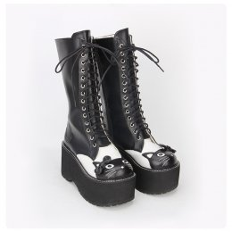 Angelic Imprint - High Heel Round Toe Black and White Cat Middle Calf Sweet Lolita Platform Boots