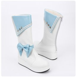 Angelic Imprint - Round Toe Middle Calf Sailor Lolita Boots with Bow