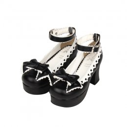 Angelic Imprint - High Chunky Heel Round Toe Buckle Black Platform Sweet Lolita Shoes with Bow