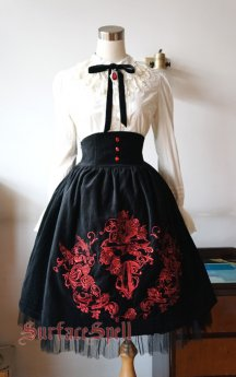 Surface Spell - Judgment Day- Gothic High Waist Knee Lolita Skirt for Autumn and Winter