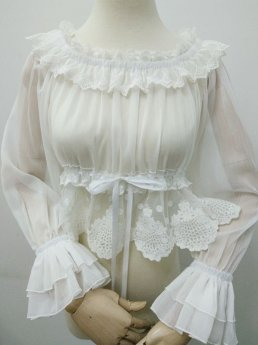 Yilia - Long Flare Sleeve Chiffon Sweet Lolita Blouse