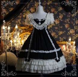 Diamond Star -Black Bunn- Black Classic Vintage Lolita OP One Piece Dress