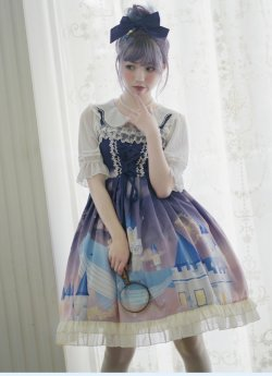 Brocade Garden -Whale Castle- Sweet Casual Lolita JSK Jumper Dress
