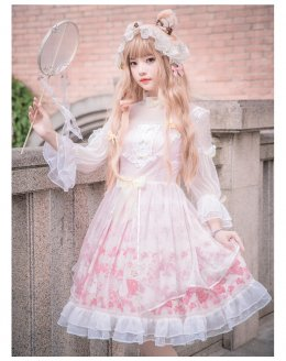 Yingluofu -Sakura- Pink Lolita OP One Piece Dress