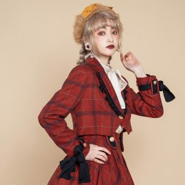 PomPom -Puppet- Long Sleeve Ouji Lolita Plaid Short Coat