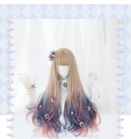 Heng Ji -75cm Long Big Curly Wavy Pastel Rainbow Lolita Wig