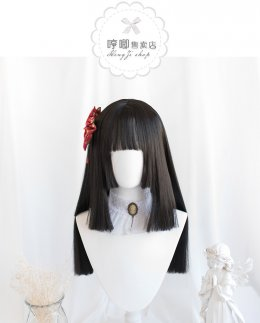 Heng Ji -Wa 60cm Long Straight Black Lolita Wig