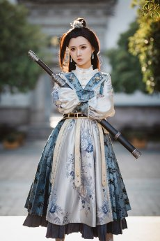 Fantastic Wind -Folk Song of Changan- Qi Military Lolita One Piece Dress
