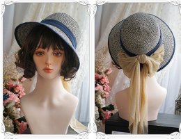 The Song of April Lolita Straw Hat and Bow Hairclip