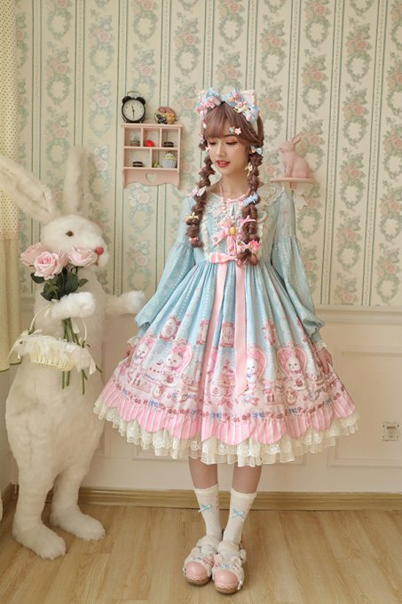 Alice girl -Cat Tea Party- Sweet Lolita OP Dress
