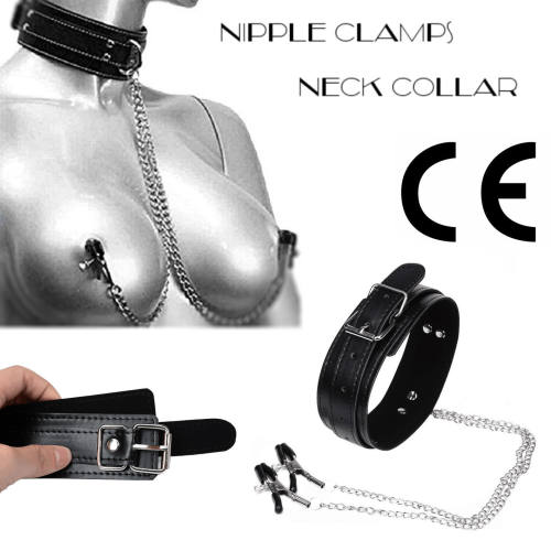 Nipple Clamps Leather Collar Leash Bondage Posture Collar