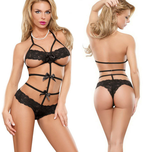 Sexy Lingerie Babydoll Underwear Nightwear G-string Lace Bow Bodystocking Set