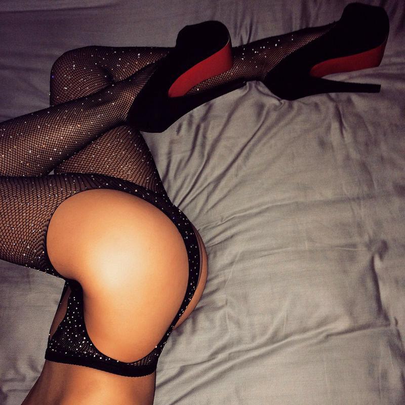 Sexy Rhinestone mesh four-way open pantyhose with diamonds