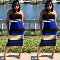 Striped Print Bodycon Midi Dress HGL1022
