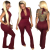 Wine Red Halter V Neck Jumpsuit FN8148