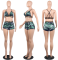 Camouflage Printed Backless Shorts Suit NY7015