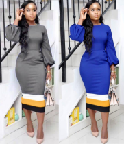 Lantern Sleeve Bodycon Midi Dress OM1014