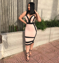 Pink Deep-V Bodycon Midi Dress WZ8099