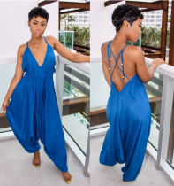 Blue Backless Loose Jumpsuit YN990