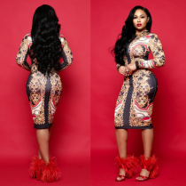 Vintage Print Long Sleeve Bodycon Midi Dress JH076
