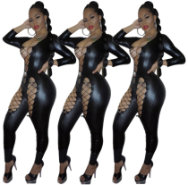 Hot Sexy Hollow-out Black PU Leather Bandage Jumpsuit FN8180