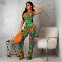 Floral Print Straps Backless Jumpsuit LM8047