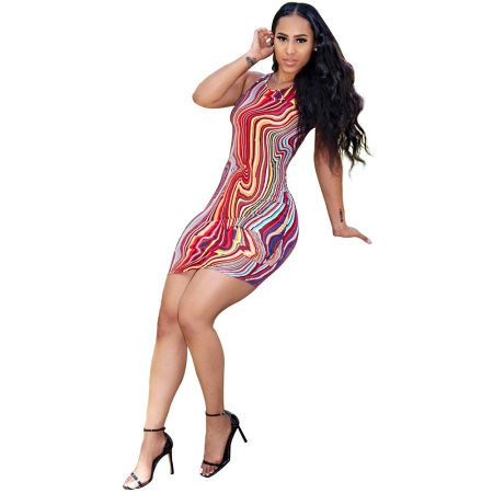 WGW Sexy Printed Sleeveless Bodycon Dresses FST7008