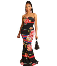 WGW Floral Stripes Print Sexy Strapless Bodycon Maxi Dresses YLY701