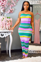 WGW Colored Stripes Strapless Ruching Bodycon Maxi Tube Dress ML7224
