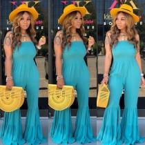 WGW Solid Color Sexy Spghetti Strap Flares One Piece Jumpsuits ML7226