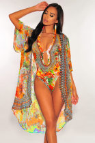 WGW Floral Print Swimsuit Long Cloak And One Piece Bikinis Sets OMR9559