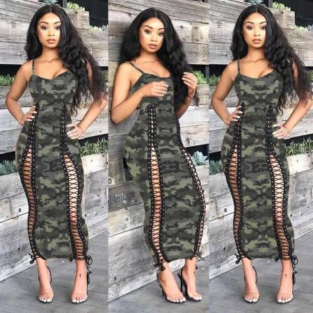 WGW Camouflage Print Spaghetti Strap Lace Up Slim Maxi Dress HZM001