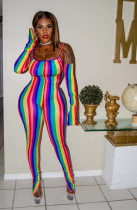 WGW Colorful Stripe Spaghetti Strap Skinny Jumpsuits LDS3187