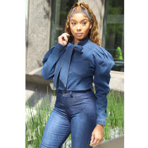 WGW Casual Puff Sleeves Bow Tie Denim Blouses BN9209