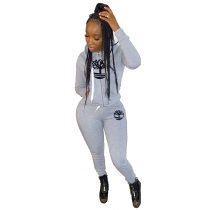 WGW Casual Printed Hooded Tracksuit Two Piece Sets YIM8092