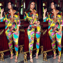 WGW Casual Printed Blouse Long Pants 2 Piece Sets KSN5089