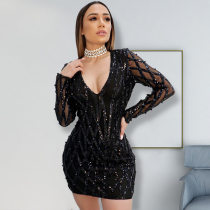 WGW Sexy Sequins V Neck Long Sleeves Bodycon Dress OSS19511