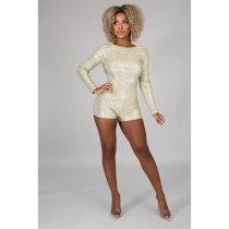 WGW Sexy Sequins Backless Long Sleeves Rompers ASL6220
