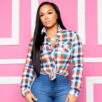WGW Colorful Plaid Buttons Long Sleeve Blouse Tops ASL6232