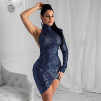 WGW Sexy Sequined Backless One Shoulder Club Dress YD8165