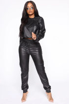 WGW PU Leather Hooded Long Sleeve 2 Piece Outfits MK2052